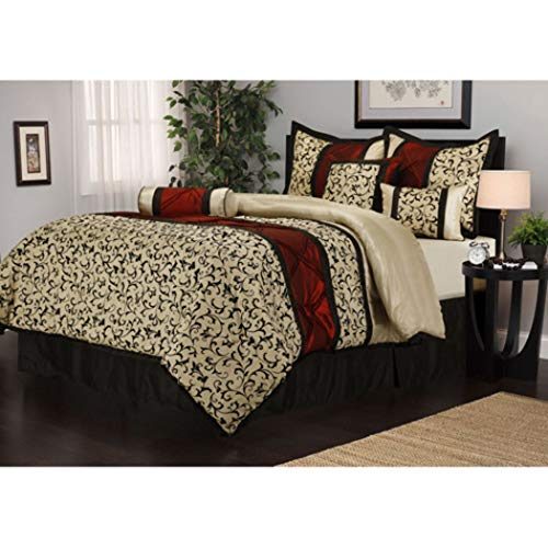 D&D 7pc Ivory Floral Motif Pattern Comforter Queen Set, Stylish HighClass Scrollwork Filigree Flowers Design, French Country, Unisex, Vibrant Bold Colors, Luxury Moder Bedrooms