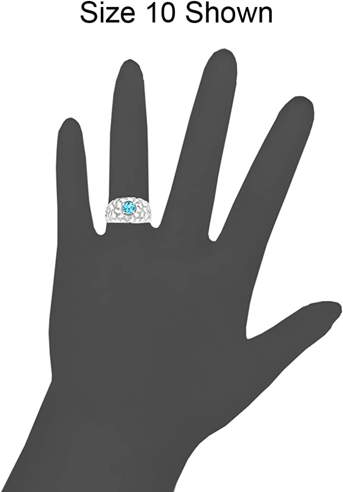 White Rhodium Plated Metal Nugget Ring Men Guy Gent Synthetic Mar Birthstone Blue CZ