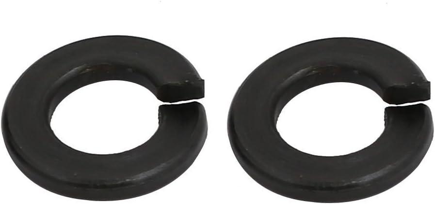 HIFROM 120pcs M2 Spring Washer Carbon Steel Split Lock 2mm Inner Dia Washer Gasket Black