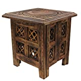 DharmaObjects Solid Mango Wood Hand Carved Prayer Puja Shrine Altar Meditation Table (Star Moon)