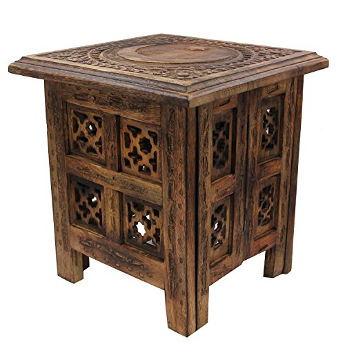 DharmaObjects Solid Mango Wood Hand Carved Prayer Puja Shrine Altar Meditation Table (Star - Altar Table