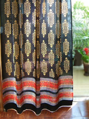Saffron Marigold – Kilim Noir – Black, Gold, and Red Hand Printed – Elegant Romantic Sheer Cotton Voile Curtain Panel – Tab Top or Rod Pocket – (46 x 84) Review
