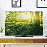 LCD TV dust cover Customizable,Nature,Sunrise in compatibleest Greenland Morning Grass Herbs Field Trees Idyllic View Decorative,Fern and Apple Green,Graph Customization Design compatible 37'' TV