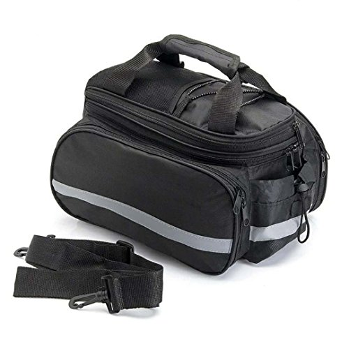 Excursion Bag - QJang Bike Rear Bag Waterproof Multi Function Excursion Cycling Bicycle Seat Trunk Bag Carrying Luggage Package Rack Panniers with Rain Cover Shoulder Strap for Road Bikes Mountain (Black)