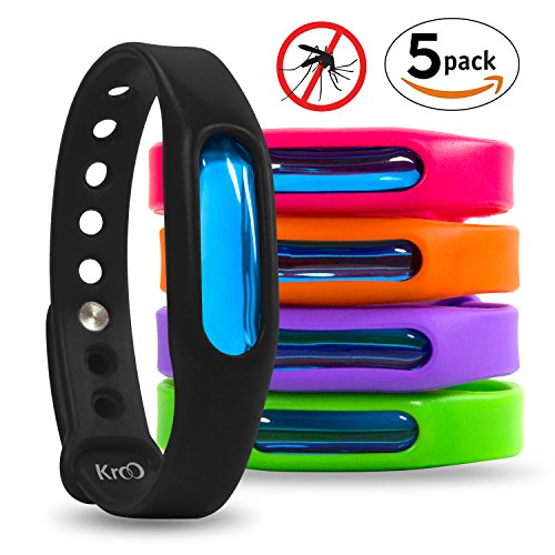 Price comparison product image Bug Mosquito Repellent Bracelet Insect Protection 100% Natural, Waterproof Silicone Deet-Free Plant-Based Oil Band, Pest Control for Adults & Kids & Pets (5 PACK - All Colors)