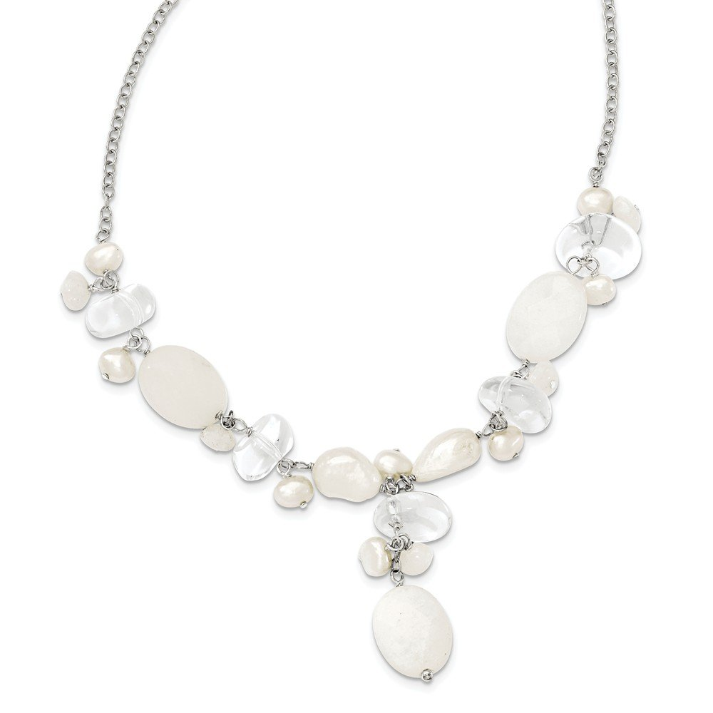 Best Birthday Gift Sterling Silver Moonstone/FW Cultured Pearl/Rock Qtz/White Jade Neck