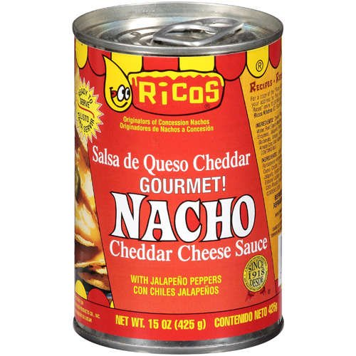 Rico's Cheese Sauce 15oz Can (Pack of 6) Choose Flavor Below (Gourmet Nacho Cheddar with Jalapeno Peppers) (Pepper Cheese Spread)