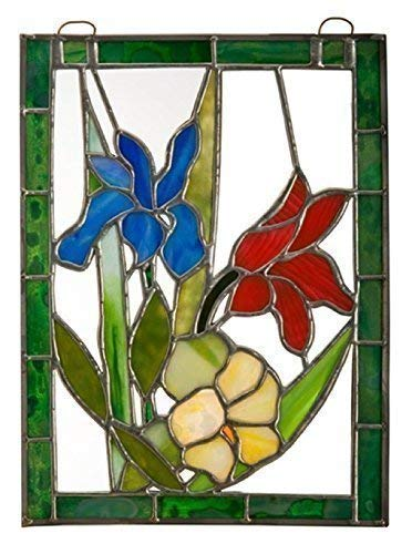 Blue stained glass Iris in a floral bouquet