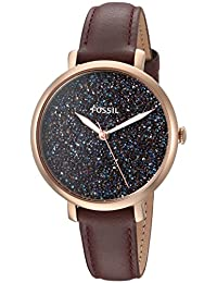 Fossil Women's 'Jacqueline' Quartz Stainless Steel and Leather Casual Watch, Color:Red (Model: ES4326)