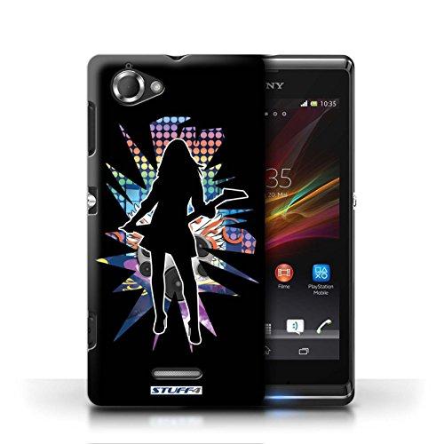 Etui / Coque pour Sony Xperia L/C2105 / Rock Dame Noir conception / Collection de Rock Star Pose