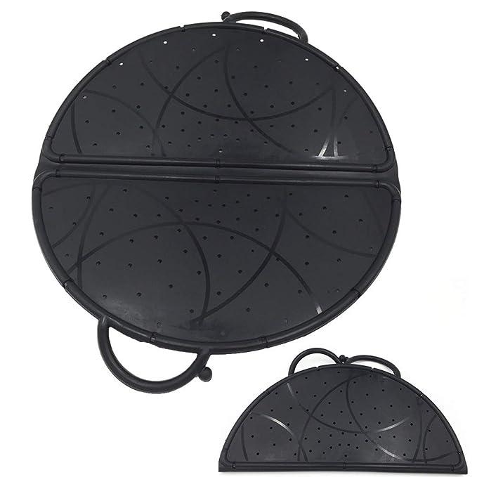 Splash tapa para sartén, protector de pantalla para cocina, salpicaduras de aceite, alfombrilla de enfriamiento plegable de silicona, aislante de calor (1 ...