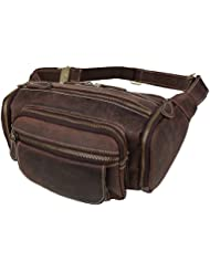 Polare Mens Vintage Full Grain Leather Fanny Travel Day Pack Cross Body Bag