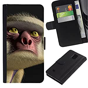 Billetera de Cuero Caso Titular de la tarjeta Carcasa Funda para Samsung Galaxy Note 4 SM-N910 / Face Eyes Nose Cartoon / STRONG