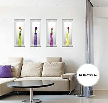 c44fa7d42a5 Buy SYGA 3D Flower Vase Decals Design Wall Stickers SK FUMG A Online at Low  Prices in India - Amazon.in