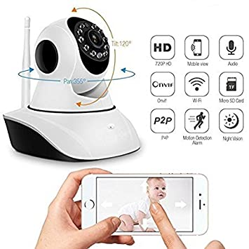 Makecell Wireless IP CCTV Indoor/Outdoor Security Camera Compatible with All Smartphones and iOS for Home/Garden/Garage (White)