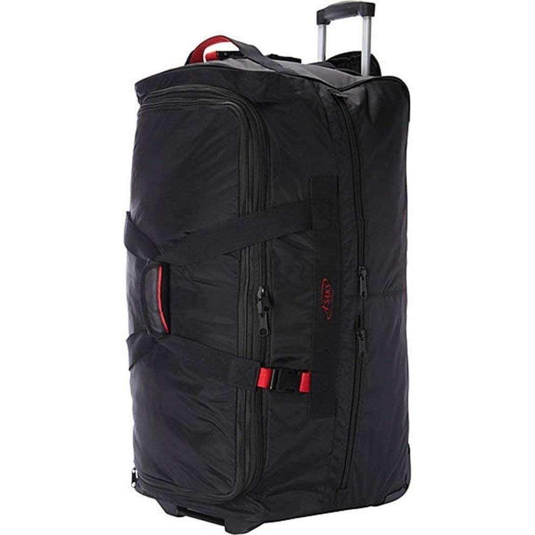 Wheeled Luggage Travel Upright Ballistic Nylon Black Red Rolling Duffel Bag