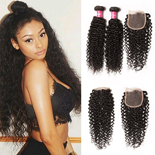 Longqi-Beauty-Unprocessed-Brazilian-Curly-Virgin-Human-Hair-Weave-3-Bundles-with-1-piece-Free-Part-Lace-Top-Closure-100-Human-Hair