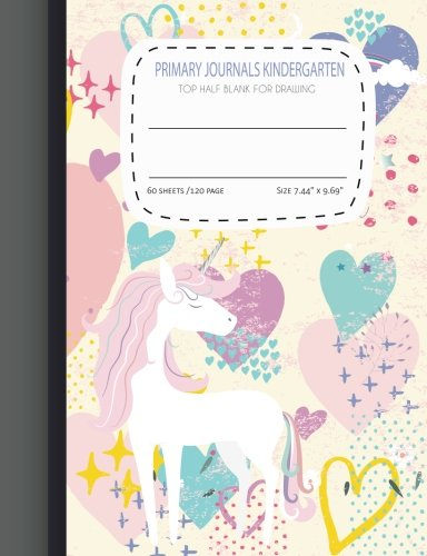 (primary journals kindergarten Top Half Blank For Drawing: Cover Heart Unicorn primary composition notebook for grades k-2 for kids kindergarten  Half ... 60 sheets/120 pages Size :7.44