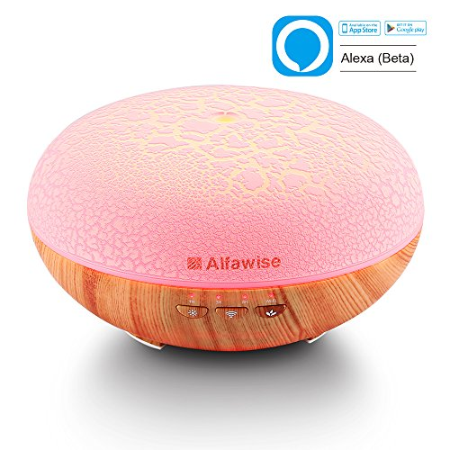 Alfawise Wifi Essential Oil Diffuser  Works With Amazon Alexa   400Ml Wood Grain Ultrasonic Aroma Cool Mist Humidifier For Office Home Bedroom Baby Room Study Yoga Spa