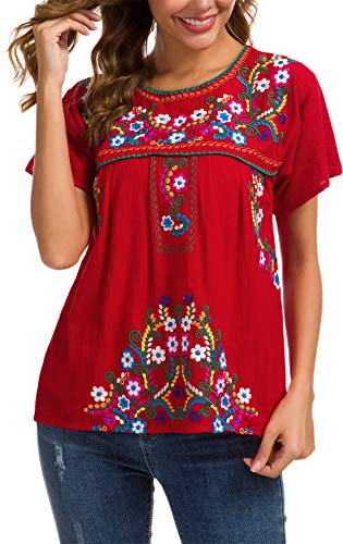 YZXDORWJ Women's Embroidered Mexican Peasant Blouse (XL, -