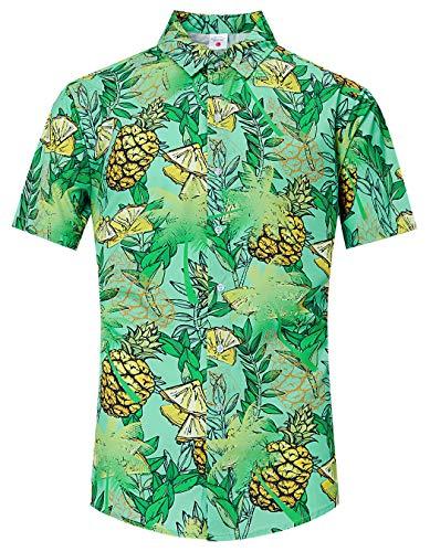 TUONROAD Mens 3D Floral Prints Funky Short Sleeve Shirt Green Leaf Coconut Tree Bananas Retro Regular Authentic Funny Button Down Shirt Casual Holiday Crazy Hawaiian Aloha Hula Shirt