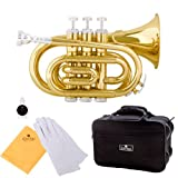 Cecilio 2Series PT-280 Gold Lacquer Brass B Flat Pocket Trumpet + Hard Case, Mouthpiece and Accessories