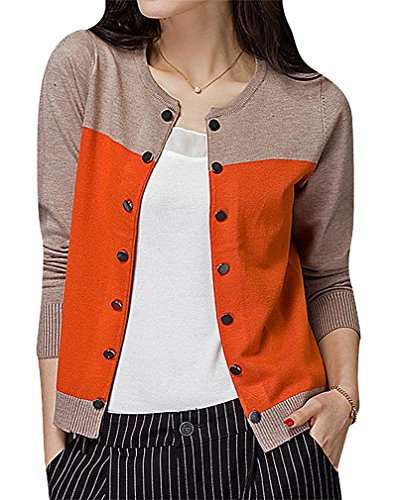 Maze, Women's Panelled Long Sleeve Button Up Ribbed Cuff O Neck Mini Cardigan, Orange XXL ,Manufacturer(XXXL)