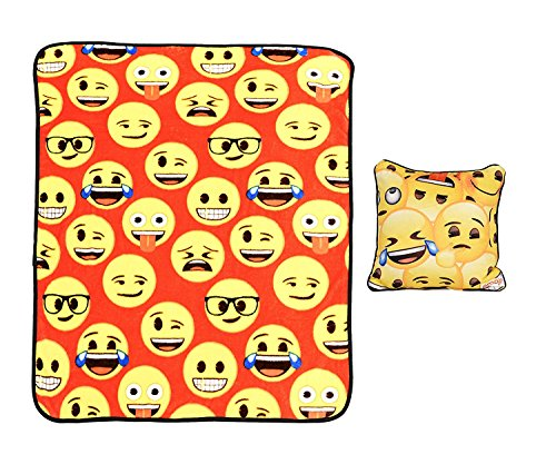 Emoji 97857 2 Pack Soft Throw Blanket and Pillow for Kids 40