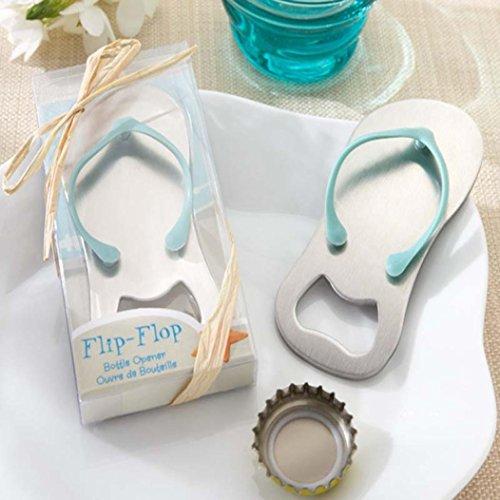 Bottle Opener, Iusun Beach Flip Flops Corkscrew Bottle Opener Bridal Shower Wedding Favors Gift (Silver) (Flip Favors Flops Wedding)