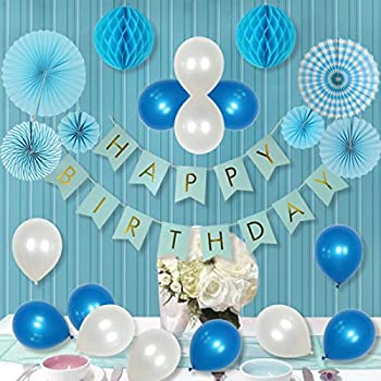 LITAUS Party Decorations For Boy Paper Fan Flower Happy Birthday Banner Honeycomb