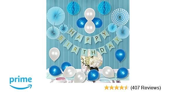 LITAUS Party Decorations For Boy Paper Fan Flower Happy Birthday Banner Honeycomb Balls Balloons 1st