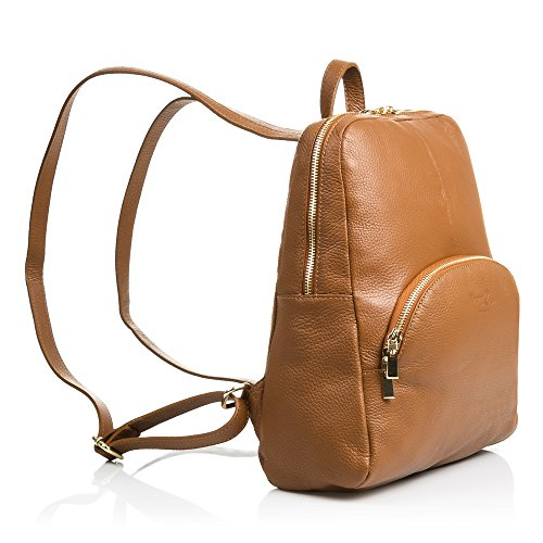FIRENZE cm PELLE Sac Dollaro pour authentique en dos MARRON MADE 31x31x10 Marron cuir ARTEGIANI finition à Sac ITALY VERA à casual cuir femme ITALIENNE Couleur dos en IN SS1r80Z