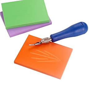 Falling in Art Craft Soft Linoleum Carving Block Cutters with 6 Different Blades & 2 Plastic Storage Handles (Tamaño: 6 kinds of cutters)