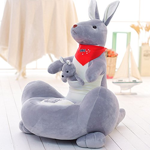 MAXYOYO Soft Velvet Cartoon Mother and Baby Kangaroo Washable Kid Bean Bag Sofa Chair Plush,Mother and Child Kangaroo Plush Toy Sofa for Boys and Girls