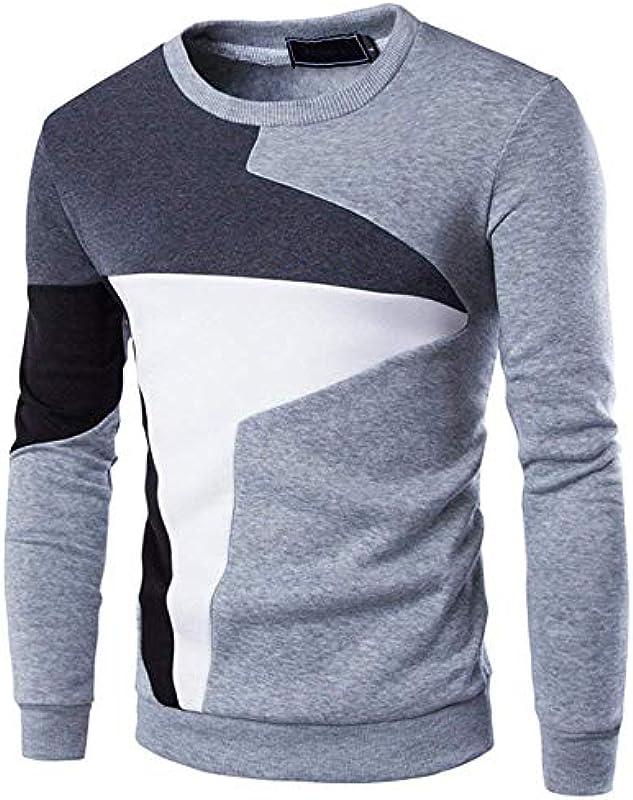 Męski okrągły dekolt sweter bluza moda sweter elegancki topy długi rękaw sweter dziergany sweter: Odzież