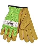 KINCO 908-L Men's Unlined Grain Pigskin Mesh Back Gloves, Large, Green