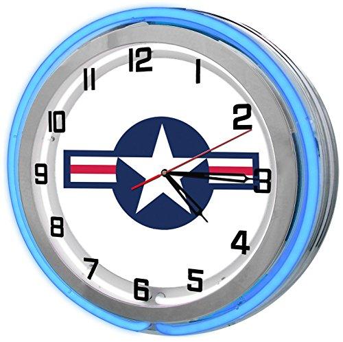 Vintage United States Air Force Blue Neon Garage Clock