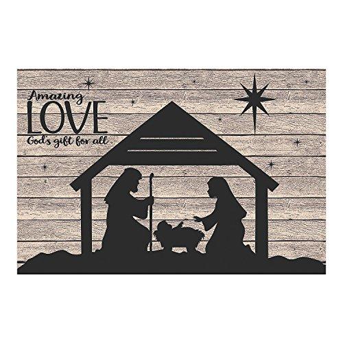 Fun Express - Nativity Silhouette Barnwood Backdrop for Christmas - Party Decor - Wall Decor - Preprinted Backdrops - Christmas - 3 Pieces -