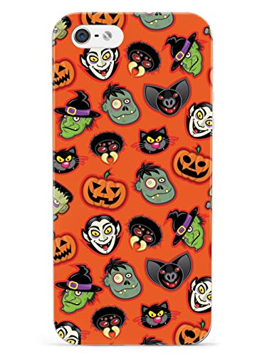 Halloween Iphone 5 Covers (Inspired Cases - 3D Textured iPhone 5/5s/SE Case - Protective Phone Cover - Rubber Bumper Cover - Case for Apple iPhone 5/5s/SE - The Faces of Halloween Vampire Pumpkin Frankenstein)