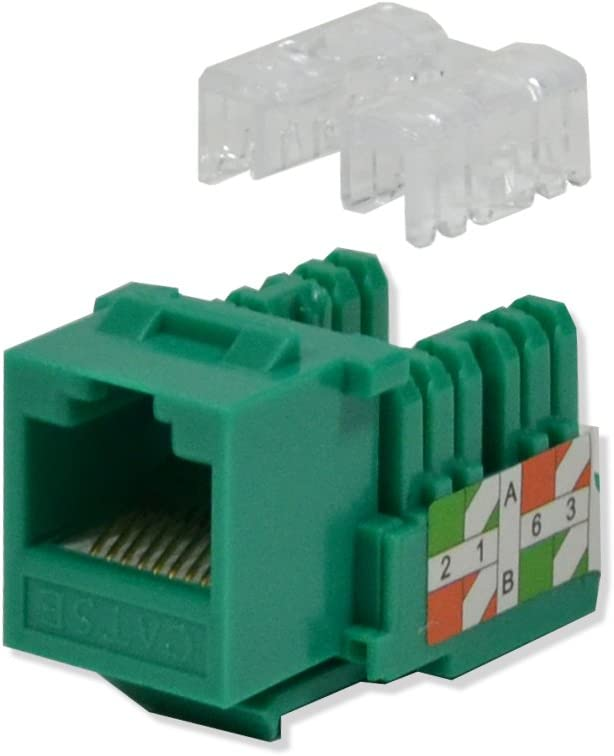 LOGICO 5 Pack lot Keystone Jack Cat5e Green Network Ethernet 110 Punchdown 8P8C