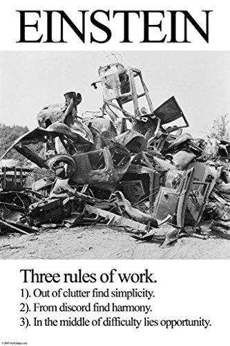 ArtParisienne Einstein Three Rules of Work 12x18-inch Paper Giclée Print -