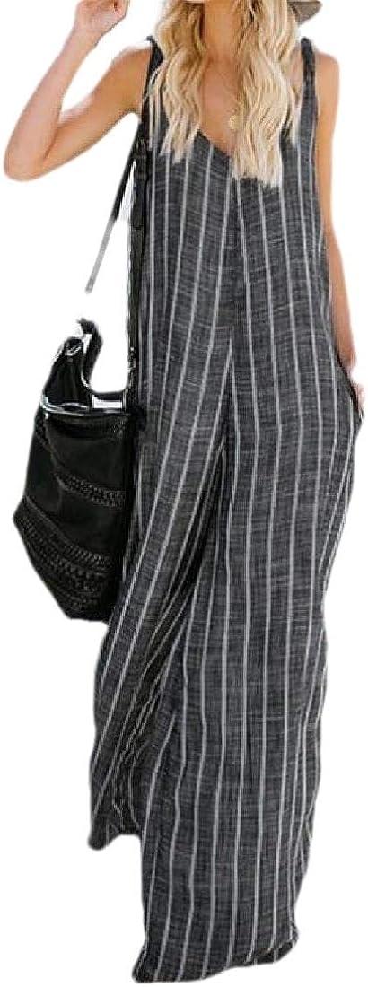 HTOOHTOOH Womens Jumpsuits Deep V Neck Sleevesless High Waist Wide Leg Jumpsuit Rompers