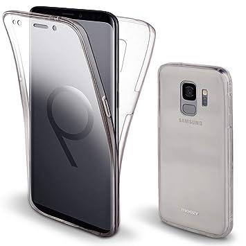 Moozy Funda 360 Grados para Samsung S9 Transparente Silicona - Full Body Case Carcasa Protectora Cuerpo Completo