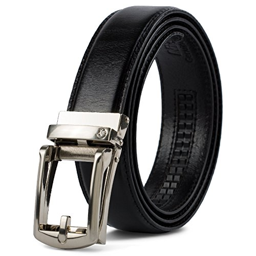 NPET AT010 Men's Full Grain Leather Ratchet Dress Belt with Automatic Buckle Luxury Genuine Leather Click (Leather Slip Belt)