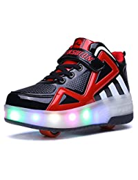 Jeneet Glowing Sneakers Kids Roller Skate Shoes with Double Wheels Led Light up Luminous Shoes Boys Girls