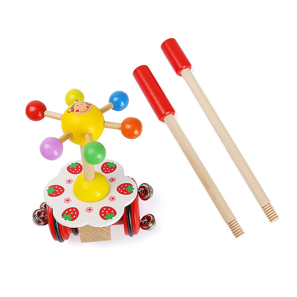 Celendi Kid Toy Creative Wooden Baby Walk Single Rod Spiral Trolley Learning Education Toy Cart for Children's Day Gift by Celendi (Image #4)
