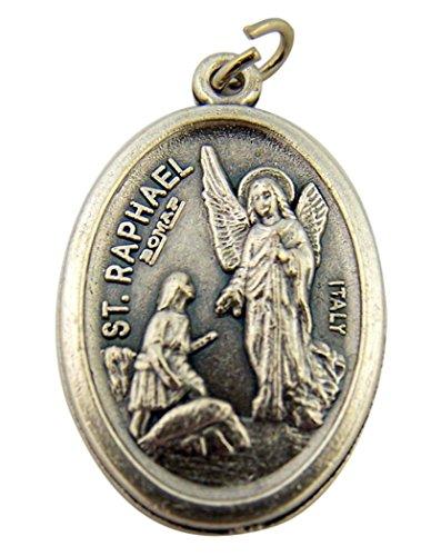 Silver Toned Base Catholic Saint St Raphael the Archangel Medal Pendant, 1 Inch (Pendant Raphael Medal)