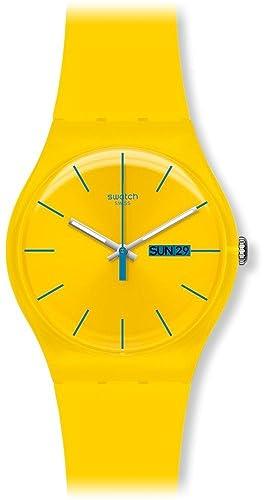 Swatch SUOJ700 - Reloj para niñas, Correa de plástico Color Amarillo: Swatch: Amazon.es: Relojes