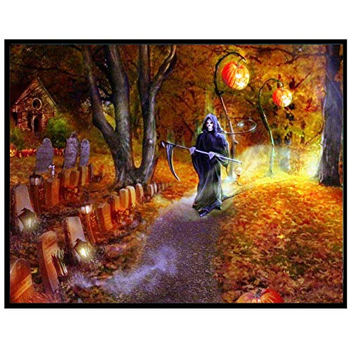 DIY 5D Diamond Painting,Dartphew [ Grave & black sickle reaper death ] - Creative Crafts & Sewing Cross Stitch,Wall Stickers for Decoration Home Lving Room (Halloween,Size:30x25cm)