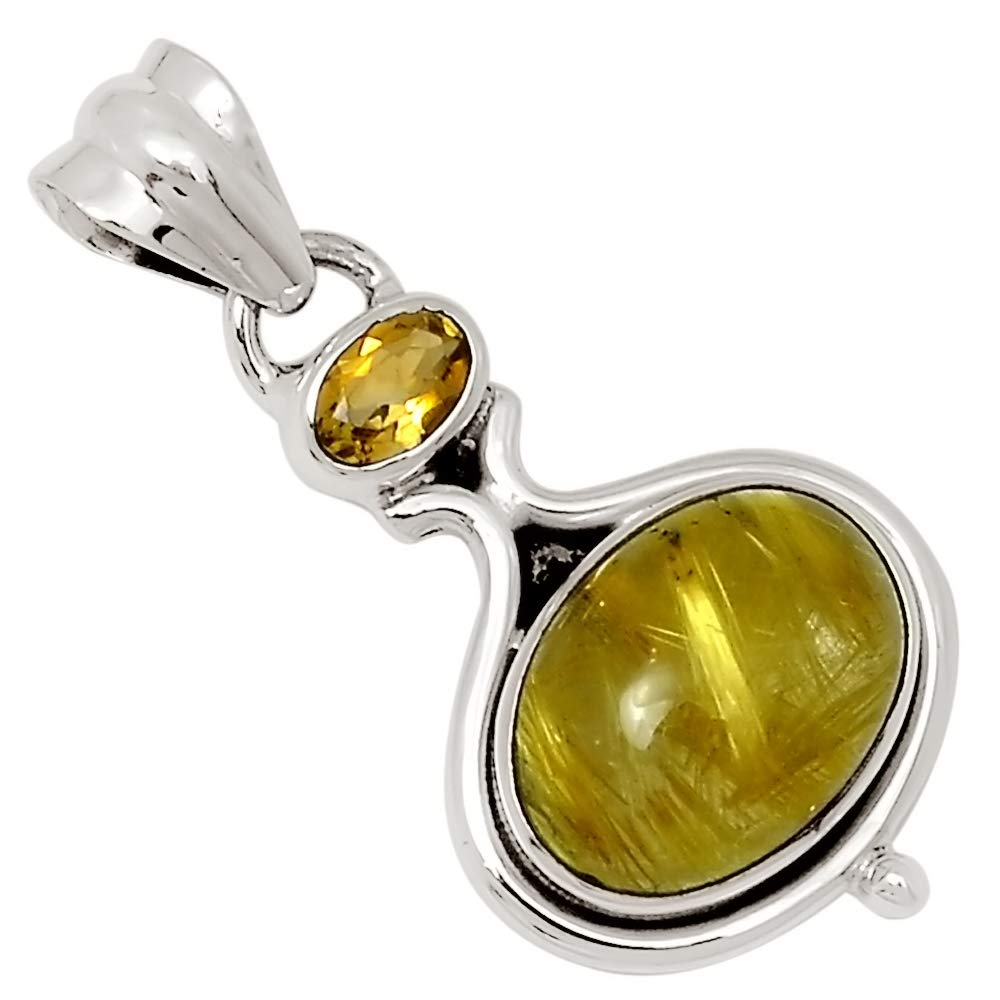 Xtremegems Golden Rutile /& Citrine 925 Silver Pendant Jewelry 1 1//2 27593P